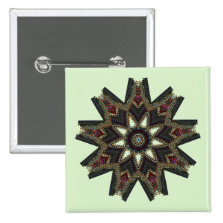 Stunning Green Flower Star 2 Inch Square Button