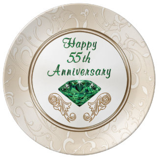 Stunning Happy 55th Anniversary Gifts Porcelain Plates