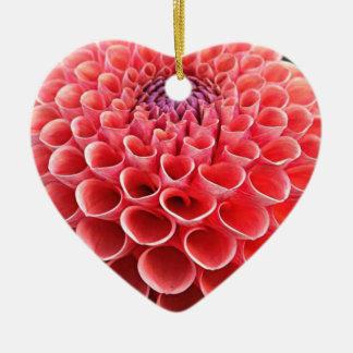 Stunning Hot Pink Dahlia Flower Ceramic Heart Ornament