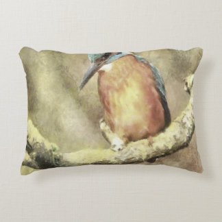 Stunning Kingfisher In Watercolor Decorative Pillow