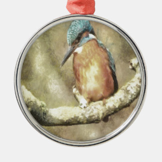 Stunning Kingfisher In Watercolor Metal Ornament