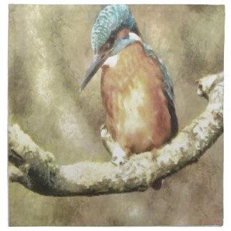 Stunning Kingfisher In Watercolor Napkin