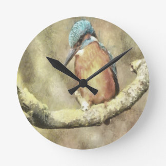 Stunning Kingfisher In Watercolor Round Clock