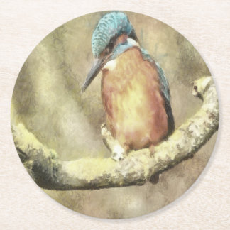 Stunning Kingfisher In Watercolor Round Paper Coaster