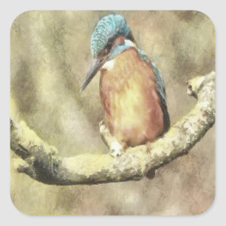 Stunning Kingfisher In Watercolor Square Sticker