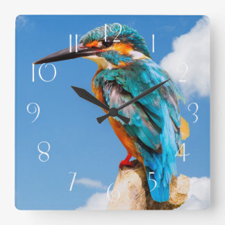 Stunning kingfisher square wall clock