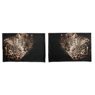 Stunning leopard on black background pillowcase