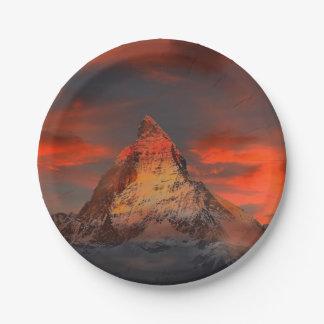 Stunning matterhorn red sky landscape 7 inch paper plate
