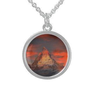 Stunning matterhorn red sky landscape sterling silver necklace