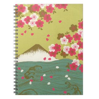 Stunning Mount Fuji Japan Pink Cherry Blossoms Spiral Notebook