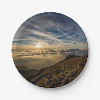 Stunning mountain landscape at dawn 7 inch paper plate
