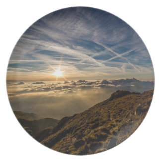 Stunning mountain landscape at dawn party plates