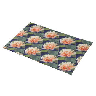 STUNNING ORANGE WATER LILY FLORAL PLACEMAT