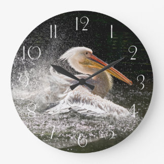 Stunning pelican in water large clock