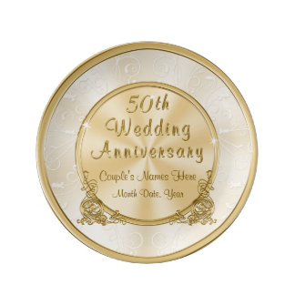 Stunning Personalised Gold 50th Anniversary Gifts Plate