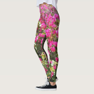 Stunning Pink Bougainvillea Bush Leggings