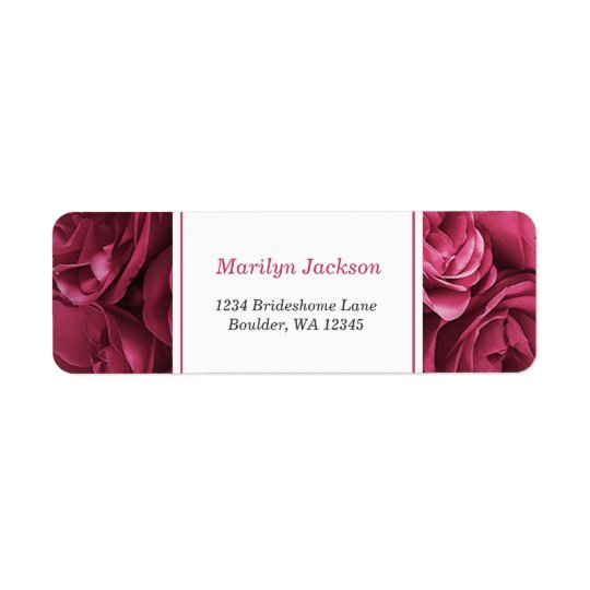 Stunning Pink Roses Wedding Return Address Label