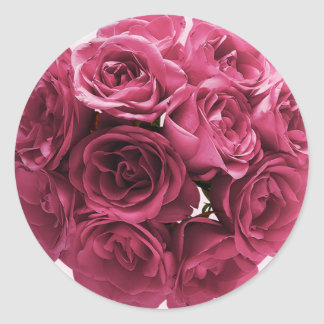 Stunning Pink Roses Wedding Round Sticker