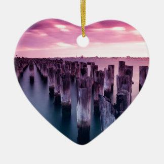 Stunning Princes Pier Port Melbourne at Dusk Ceramic Heart Ornament