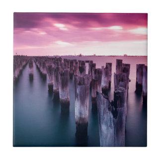 Stunning Princes Pier Port Melbourne at Dusk Ceramic Tile