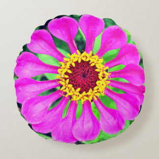 Stunning Purple Flower Round Pillow