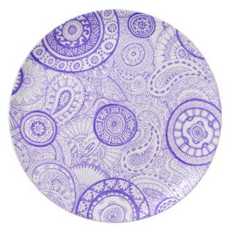 Stunning Purple Paisley Pattern Melamine Plate