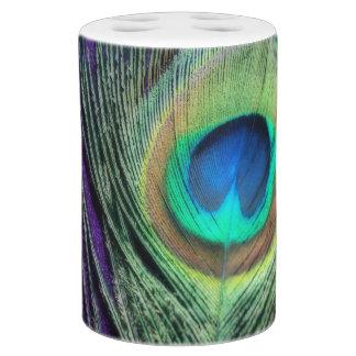 Stunning Purple Peacock Soap Dispenser And Toothbrush Holder