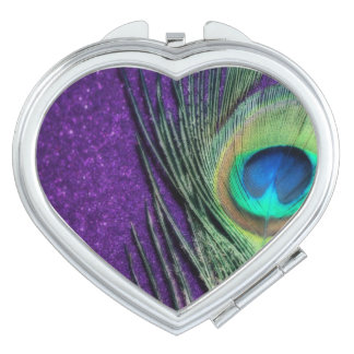 Stunning Purple Peacock Travel Mirror