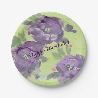 Stunning Purple Watercolor Event Paper Products 7 Inch Paper Plate
