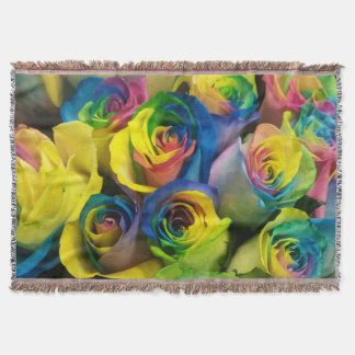 Stunning Rainbow Roses Throw Blanket