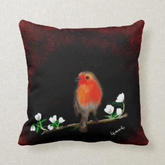 Stunning red Robin art Throw Pillow