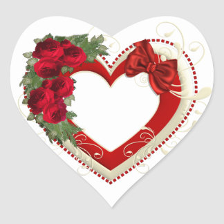 Stunning Red Roses Bow & White Flourishes Heart Sticker
