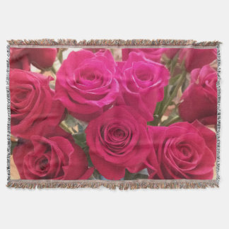 Stunning Red Roses Throw Blanket