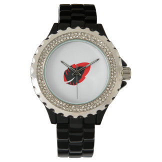 Stunning Rhinestone Black Enamel Watch
