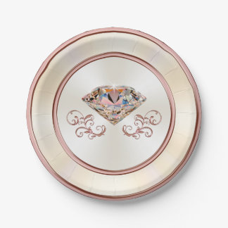 Stunning Rose Gold Diamond Paper Plates, 7 or 9 in Paper Plate