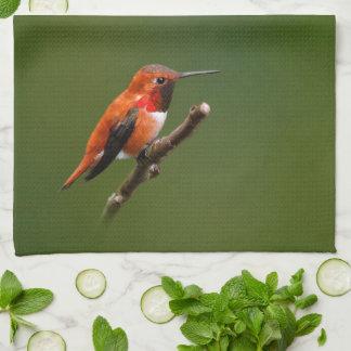 Stunning Rufous Hummingbird on the Cherry Tree Kitchen Towels