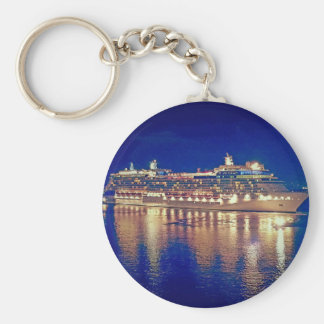 Stunning Ship Nightlights Reflecting on water Basic Round Button Keychain