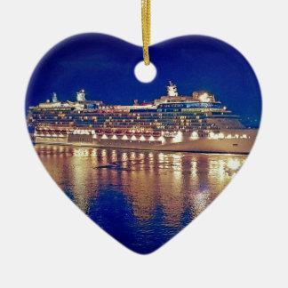 Stunning Ship Nightlights Reflecting on water Ceramic Ornament