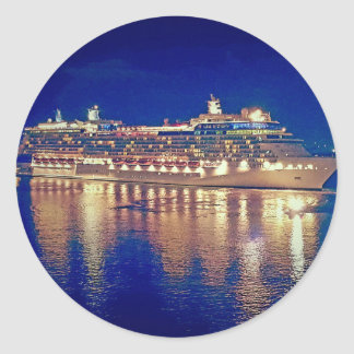 Stunning Ship Nightlights Reflecting on water Classic Round Sticker