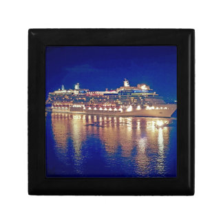 Stunning Ship Nightlights Reflecting on water Jewelry Boxes