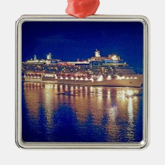 Stunning Ship Nightlights Reflecting on water Metal Ornament