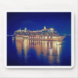 Stunning Ship Nightlights Reflecting on water Mouse Pad