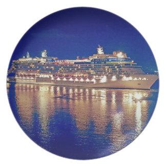 Stunning Ship Nightlights Reflecting on water Plate