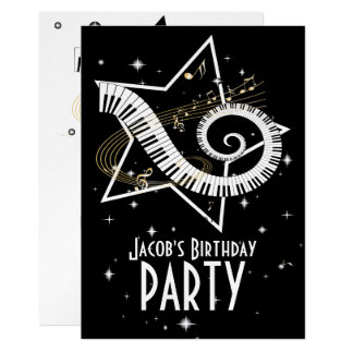 Stunning silver and black Musical Notes Invitation