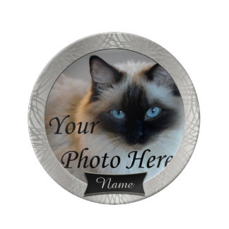 Stunning Silver - Gray Pet Memorial Porcelain Plates