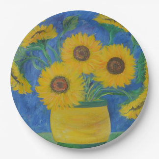 Stunning Sunflower 9 Inch Paper Plate