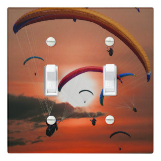 Stunning sunset paragliding light switch cover
