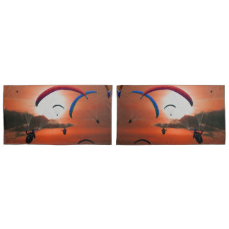 Stunning sunset paragliding pillowcase