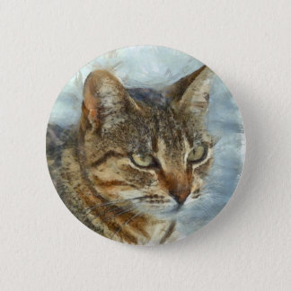 Stunning Tabby Cat Close Up Portrait 2 Inch Round Button