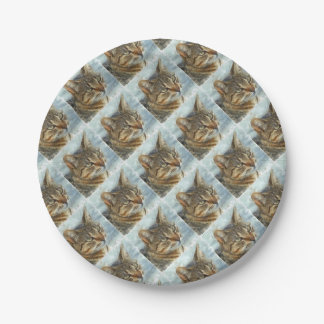 Stunning Tabby Cat Close Up Portrait Paper Plate